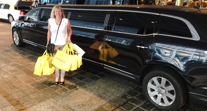 Testimonials - client with shoppers next limo